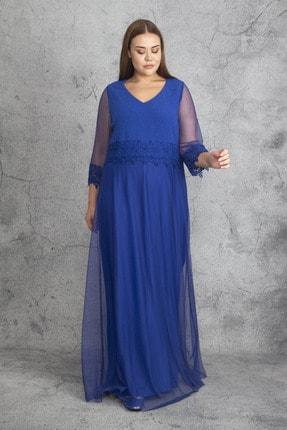Şans Kadın Saks Dantel Ve Tül Deyatlı Astarlı Simli Abiye Elbise 65N19350 3
