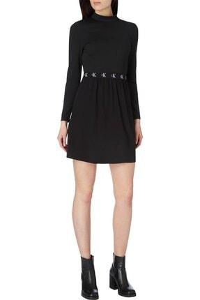 Calvin Klein Kadın Siyah Logo Elastıc Dress Elbise 2
