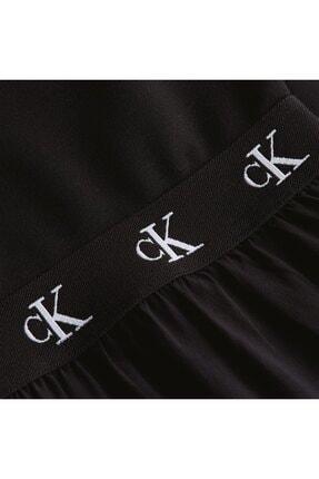 Calvin Klein Kadın Siyah Logo Elastıc Dress Elbise 3