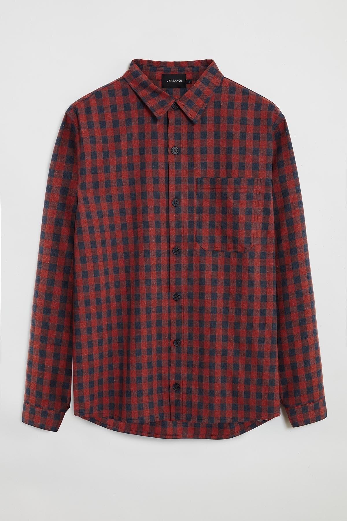GRIMELANGE BRETT Erkek Kırmızı Kareli Regular Gömlek 0