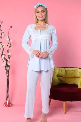 Emose Kadın Mavi Dantelli Lohusa Pijama Takımı 1