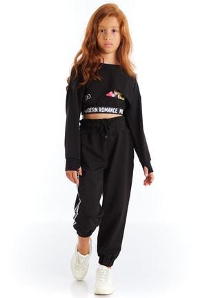 Colorinas Kız Çocuk Siyah Modern Romance Şeritli Pantolon 1