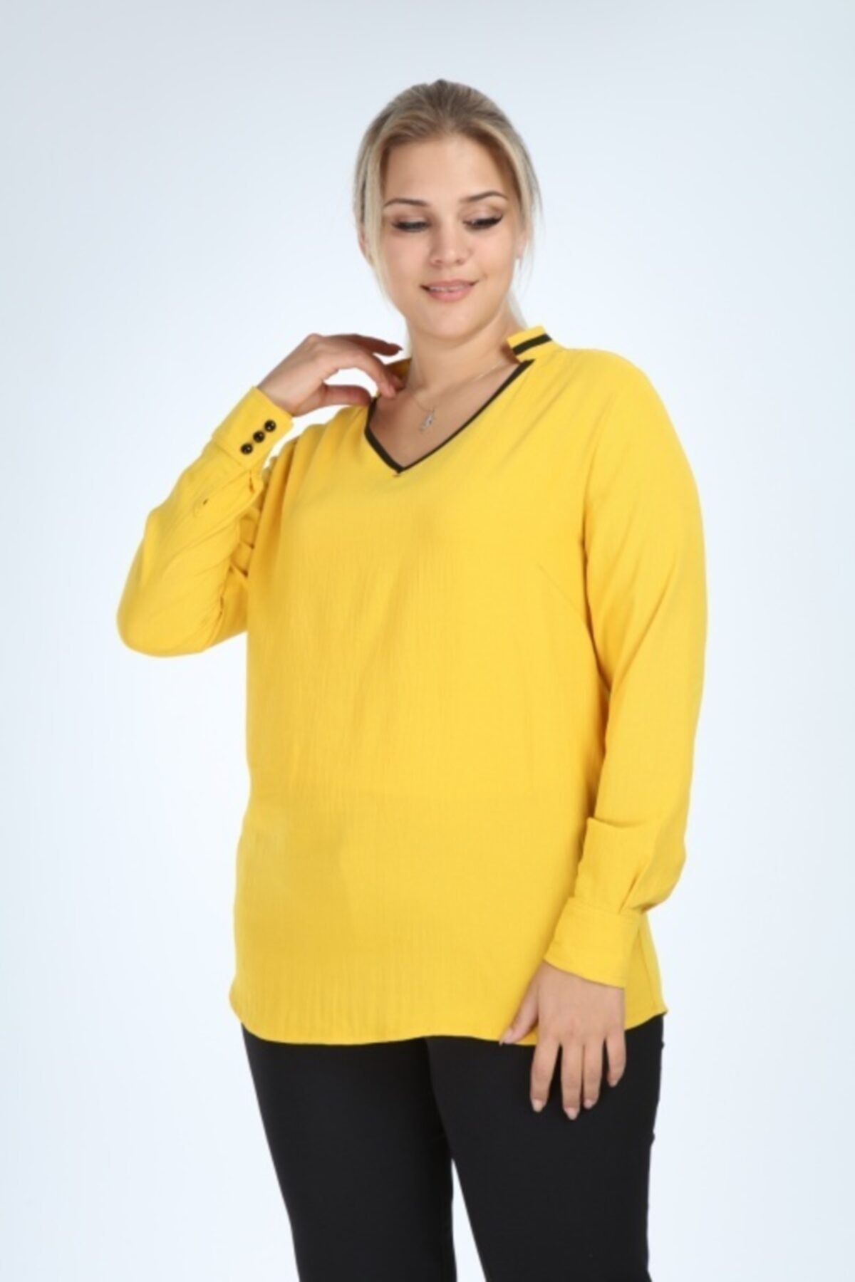 Kadın Sarı Büyük Beden Uzun Kol Biyeli V Yaka Bluz