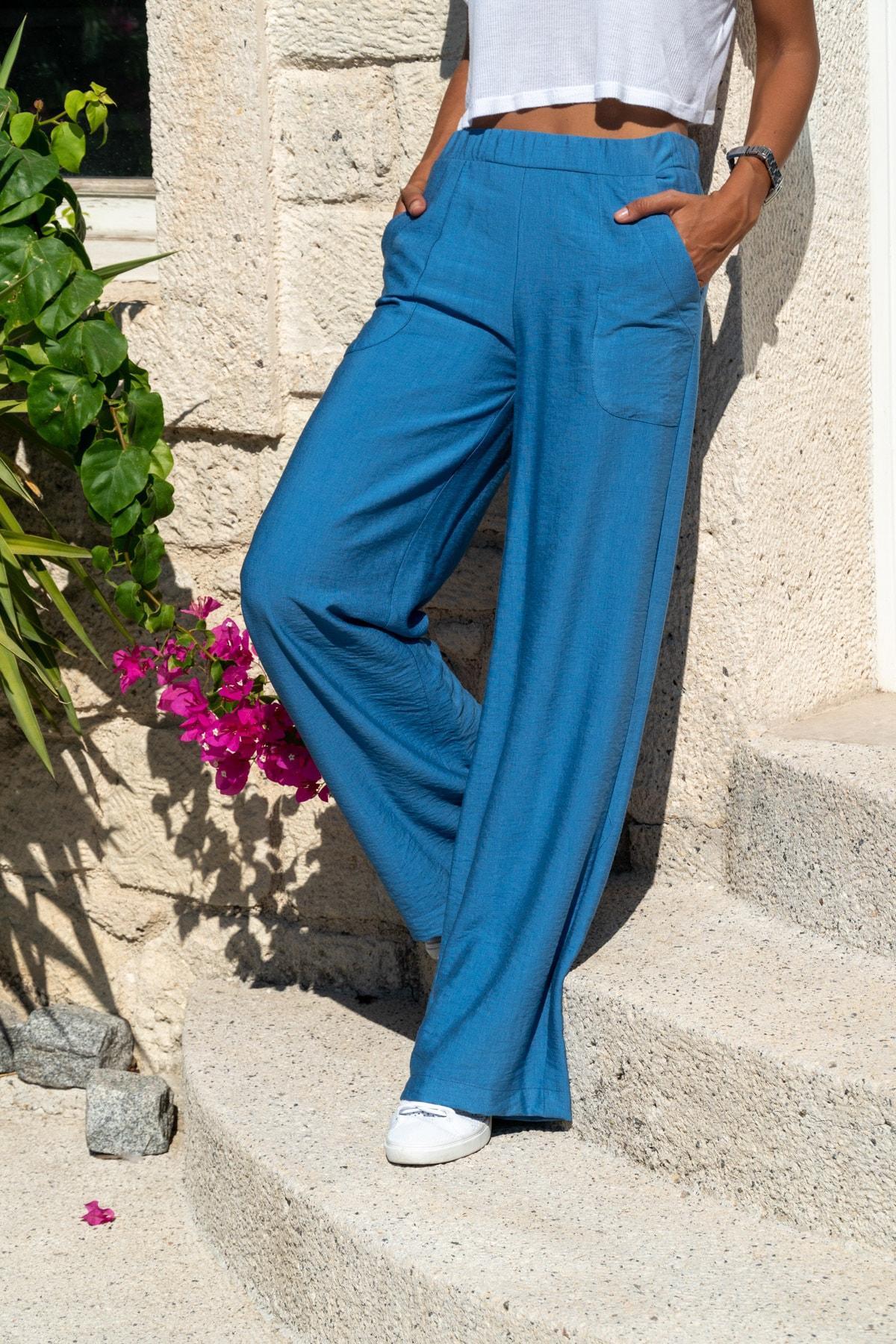 Güneşkızı Kadın İndigo Keten Beli Lastikli Salaş Pantolon GK-BST2933 0