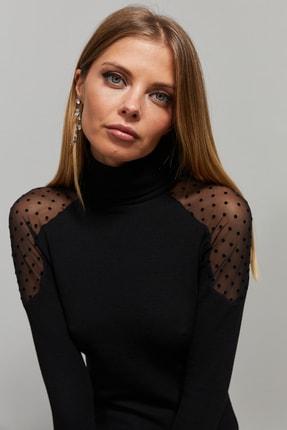 Cool & Sexy Kadın Siyah Omuzları Puantiyeli Tül Bluz EY1098 2