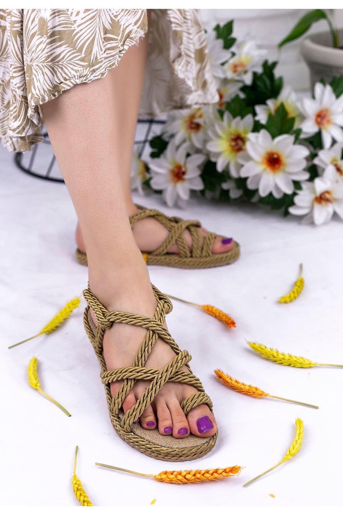 Geyik Giyim Kadın Gold Nyla Halatlı Sandalet