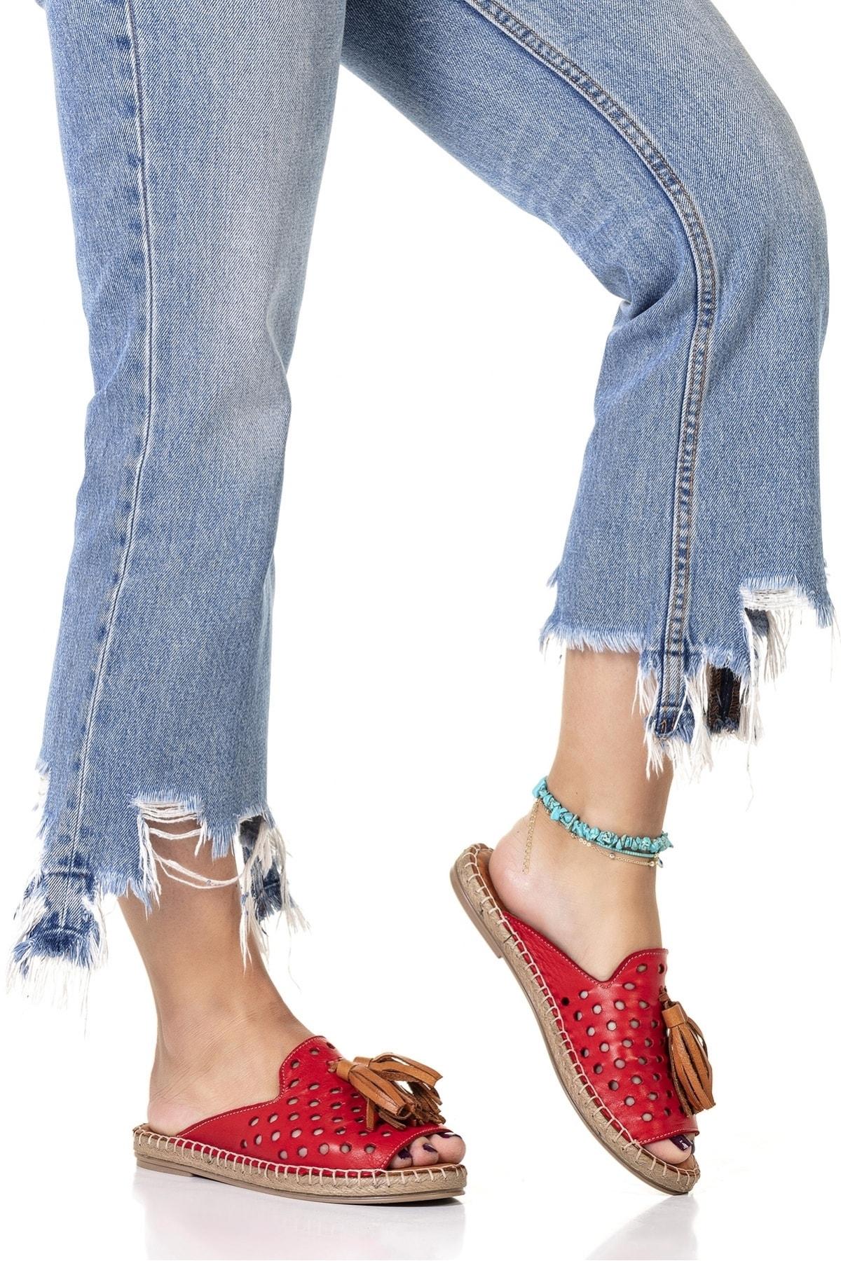 Vita Shoes Kadın Kırmızı Deri El Yapımı Terlik