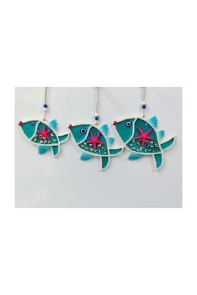 SUME Deniz Kabuğu Süslemeli 3'lü Balık Duvar Süsü Nazarlık 0