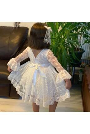 Pumpido Beyaz Dantelli Kız Çocuk Elbise 1