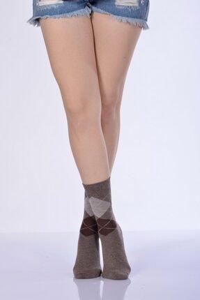 Idilfashion 4'lü Paket - Konç Kısmı Ekose Desenli Kadın Soket Çorabı - Kahverengi B-art015 I4W015032412