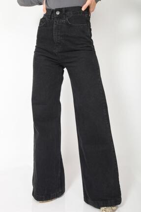 MADAME X Kadın Siyah Bol Paça Ekstra Yüksek Bel Kot Pantolon 3