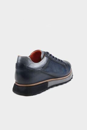 Alberto Rossi Lacivert Dogal Deri Taban Detaylı Erkek Deri Sneaker 3
