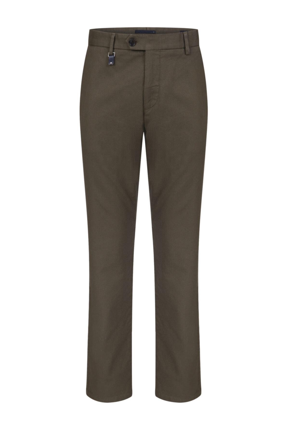 Yeşil Mıcro Desen Chıno Pantolon