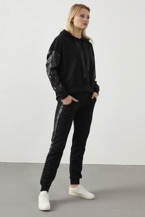 ELBİSENN Yeni Model Kadın Yanları Parlak Garnili Ikili Spor Takım ( Siyah ) 1