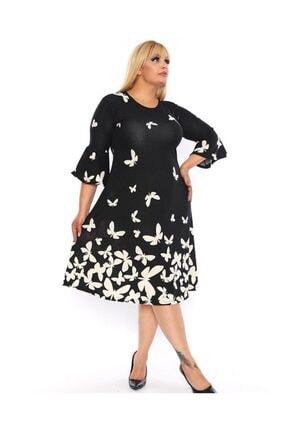 Şirin Butik Kadın Siyah Kelebek Desen Volan Kol Krep Elbise 1
