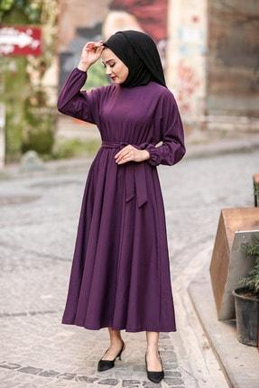 benguen 7069 Tesettür Elbise - Mor 2