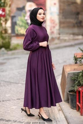 benguen 7069 Tesettür Elbise - Mor 3