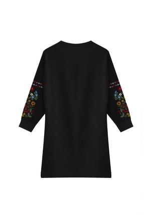Visqon Yeni Model Kadın Kolları Nakış Detaylı Triko Elbise 0