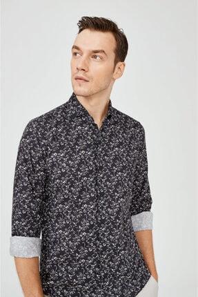Avva Erkek Lacivert Baskılı Klasik Yaka Slim Fit Gizli Patlı Gömlek A02y2051 1