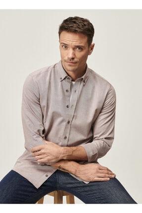 Altınyıldız Classics Erkek Bordo Tailored Slim Fit Dar Kesim Düğmeli Yaka Twill Gömlek 4
