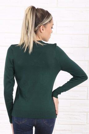 Arlin Kadın V Yaka Uzun Kol Yeşil Triko/kazak 2