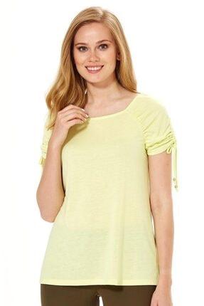 İkiler Kadın Açık Fıstık Yeşil Kolu Büzgülü Bağcıklı Bluz 018-1204 0