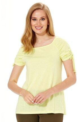 İkiler Kadın Açık Fıstık Yeşil Kolu Büzgülü Bağcıklı Bluz 018-1204 3