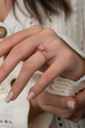 Papatya Silver Lotus Çiçeği Pembe Taşlı Kadın Yüzüğü 0