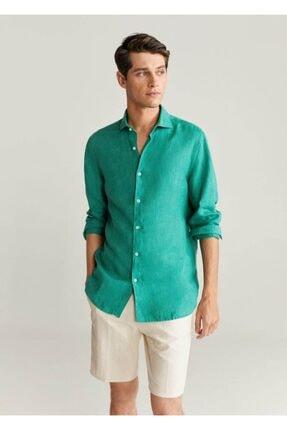 Mango Erkek Yeşil Dar Kesimli %100 Keten Gömlek 77000509 1