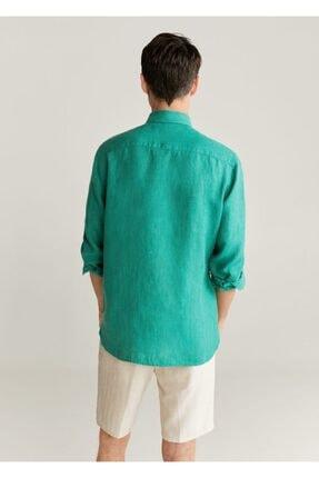 Mango Erkek Yeşil Dar Kesimli %100 Keten Gömlek 77000509 2