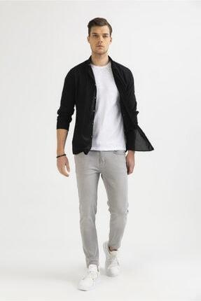 Avva Erkek Siyah Düz Düğmeli Yaka Slim Fit Uzun Kol Vual Gömlek A01s2206 4