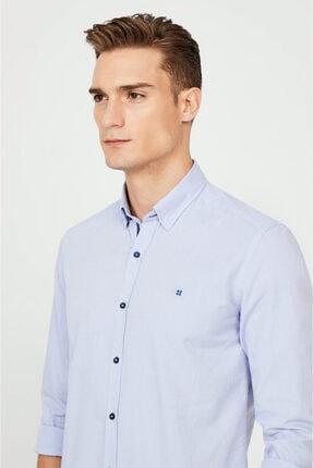 Avva Erkek Mavi Düz Alttan Britli Yaka Slim Fit Gömlek A02y2244 1