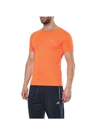15s-1221 V Yaka B-cool Neon Oranj Slim-fit Erkek Spor T-shirt resmi