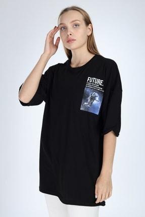 Millionaire Siyah Future Baskılı Oversize T-shirt 0