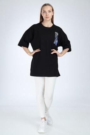 Millionaire Siyah Future Baskılı Oversize T-shirt 2