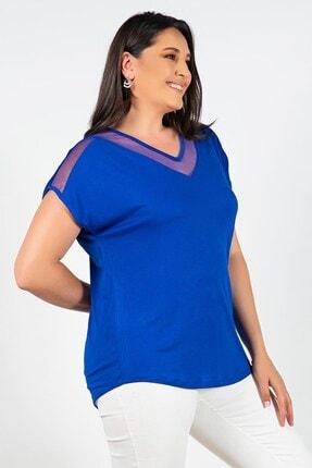 Womenice Büyük Beden Lacivert Yakası Kolu Tüllü Bluz 1