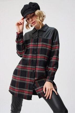 butikburuç Kadın Siyah Üst Deri Gömlek Tunik 1