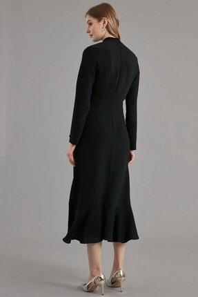 Journey Elbise- Yarım Balıkçı Ön Bant Boncuk Işleme, Volan Detaylı 3