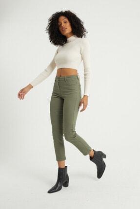 BOSHETTI Haki Yüksek Bel Mom Comfort Slim Fit Jeans 0