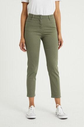BOSHETTI Haki Yüksek Bel Mom Comfort Slim Fit Jeans 2