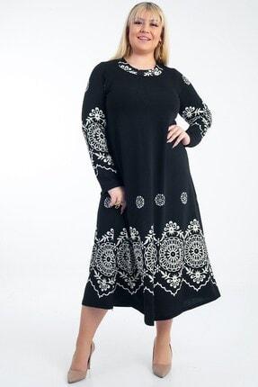 Picture of Çiçekli Örme Krep Büyük Beden Likra Elbise Siyah