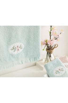 English Home Fancy Flowers Nakışlı Yüz Havlusu 50X76 Cm Seledon 1
