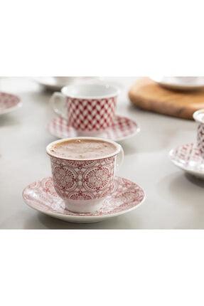 English Home Arista Porselen 6'lı Kahve Fincan Takımı 90 ml Bordo 1