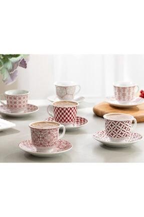 English Home Arista Porselen 6'lı Kahve Fincan Takımı 90 ml Bordo 2