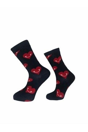 MervSocks Unisex Kırmızı Kalp Desenli Sevgililer Günü Özel Hediye Kutulu Çift Çorabı 2li Paket 0