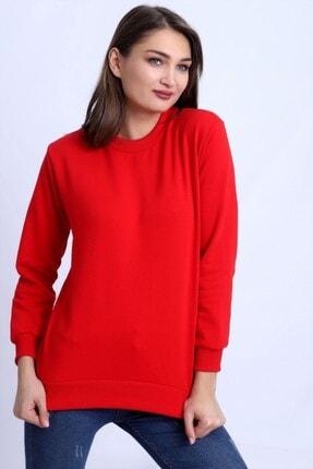Deafox Canlı Kırmızı Basic Kadın Sweatshirt 0