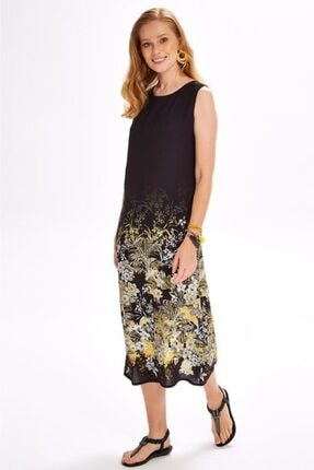 İkiler Kadın Siyah Eteği Desenli Kolsuz Uzun Elbise 020-4020 1