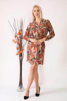 ASSO Kadın Kahverengi Çiçek Desenli Tünelli Elbise 0