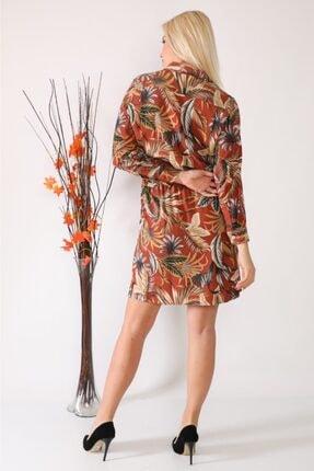 ASSO Kadın Kahverengi Çiçek Desenli Tünelli Elbise 2