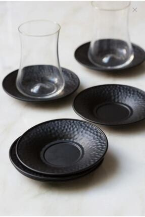 Fusha Metal Siyah Renkli 6'lı Çay Tabağı Seti 0